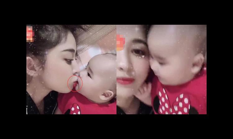 Cổ Lực Na Trát gây tranh cãi vì hôn cháu nhỏ với đôi môi đầy son