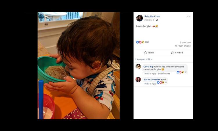 Vợ Mark Zuckerberg khoe ảnh con gái ăn phở
