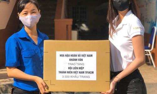 Hoa hậu Khánh Vân trao tặng 3.500 khẩu trang