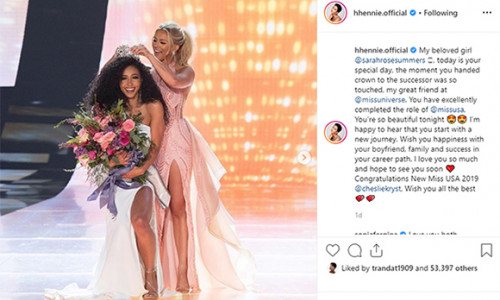 Hoa hậu Mỹ xúc động vì nhận được lời động viên của H'Hen Niê